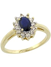 14K Yellow Gold Natural Blue Sapphire Flower Diamond Halo Ring Oval 6x4 mm, sizes 5 10