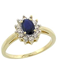 10K Yellow Gold Natural Blue Sapphire Flower Diamond Halo Ring Oval 6x4 mm, sizes 5 10