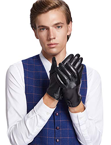 Sheeper Men's Touchscreen Leather Driving Gloves Motorcycle Gloves 2 Adjustable Button (Black) M by Sheeper (Image #2)