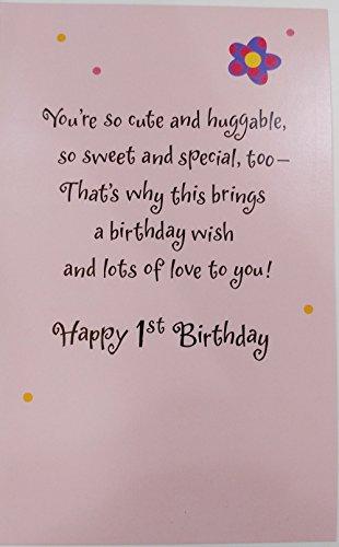 Birthday GIRL - Happy 1st Birthday Greeting Card w/ Sparkle