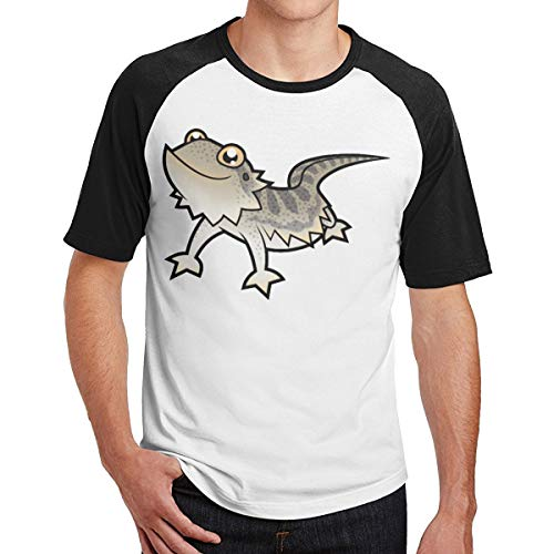 Sakanpo Men Cartoon Bearded Dragon Short Sleeve Baseball Tee Raglan T-Shirt 30 Black