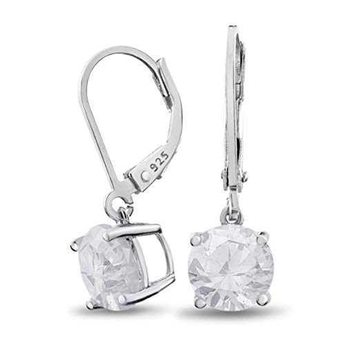 (Rhodium Plated Sterling Silver Basket Setting 8mm Brilliant Round White CZ Leverback Dangle)