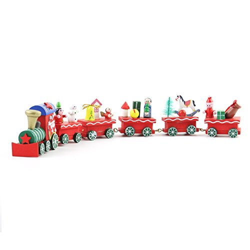Yiwa 4 or 6 Compartments Christmas Wooden Cartoon Train Decorations for Home Kids Cute Train Xmas Gift 6 compartments small train by Yiwa