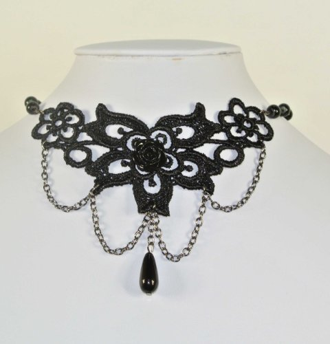 - Retro Vintage Gothic Goth Lolita Black Rose Flower Tassels Lace Necklace Choker