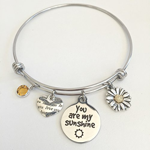 You Are My Sunshine Stainless Steel Friendship Bracelet ~ Adjustable Girlfriend or Daughter Charm Bangle