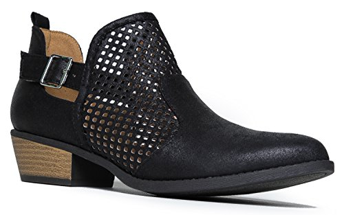 Cute Western Distressed Cowboy Perforated Laser Cut Out Bootie - Women's Pointed Toe Slip on Ankle Boot by J. Adams