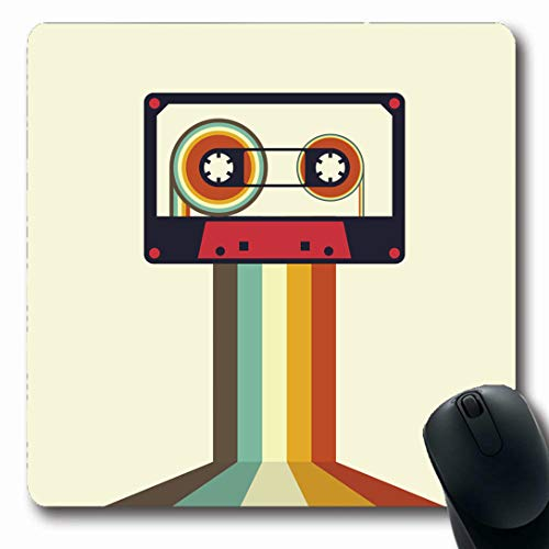 Ahawoso Mousepads for Computers Tape Cassette Retro Vintage Stereo Music Disco Flat Recording 80S Audio Oblong Shape 7.9 x 9.5 Inches Non-Slip Oblong Gaming Mouse Pad