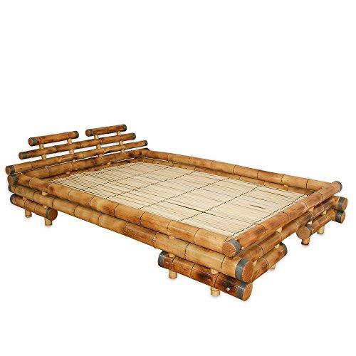 Homestyle4u Bambusbett Futonbett Bambus Bett 160 x 200 cm in braun Designerbett Holzbett