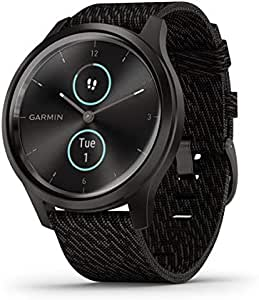 Garmin vívomove Style, Hybrid Smartwatch with Real Watch Hands and Hidden Color Touchscreen Displays, Graphite with Black Woven Nylon Band