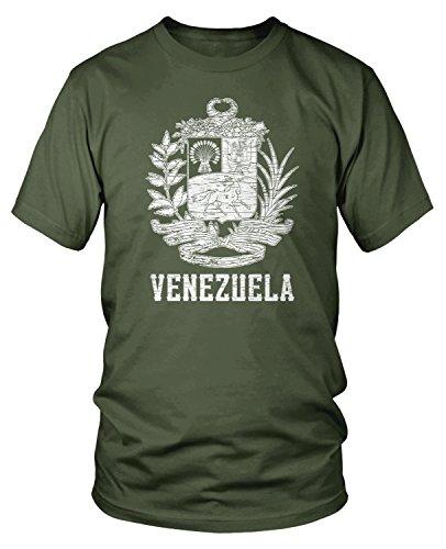 Amdesco Men's Venezuelan Coat of Arms, Venezuela Crest T-Shirt, Moss Green -