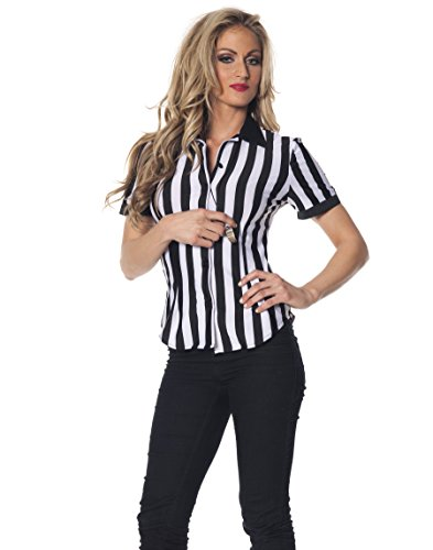 Underwraps Women's Plus-Size Referee Fitted Shirt, Black/White, 3X-Large