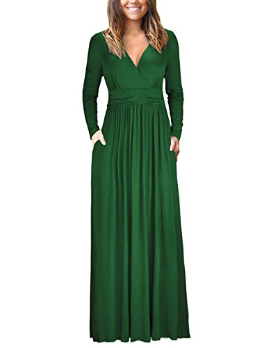 USUASID Womens Long Sleeve V-Neck Wrap Waist Casual Loose Plain Pocket Maxi Dress