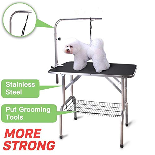 Polar Aurora Pingkay 36'' Black Heavy Duty Pet Professional Dog Show Foldable Grooming Table w/Adjustable Arm & Noose & Mesh Tray (Best In Show Dog Grooming)