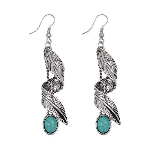 Peony.T Ladys' Bohemian Turquoise Antique Silver/Gold Tribal Fringe Dangle Earrings (Twist Leaf-Antique Silver)