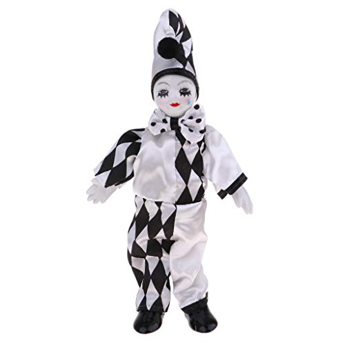 Fenteer 25cm Smiling Standing Clown Doll with Tear Wearing Costume Table Desk Top -