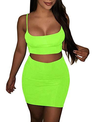 Modern Fit Crop - BORIFLORS Women's Sexy 2 Piece Outfits Strap Crop Top Skirt Set Bodycon Mini Dress,Medium,Light Green