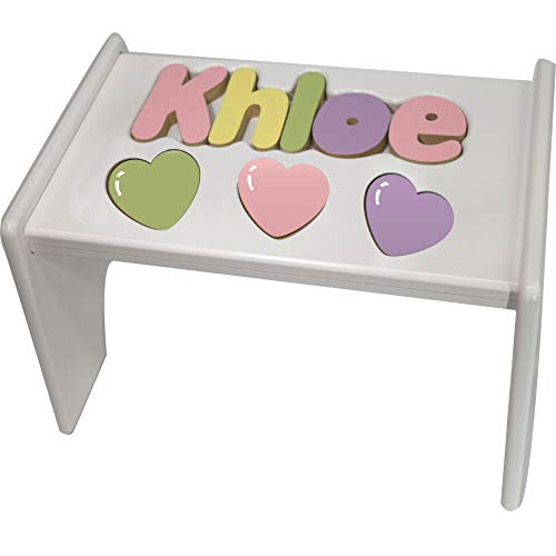 Personalized Heart Wooden Puzzle Stool- Stool Color: White, Letter Color: Pastel, 1-8 Letters