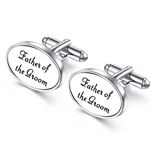 HONEY BEAR Oval Wedding Cufflinks for Mens Shirts Stainless Steel for Marriage with Gift Box Father of The Groom (Stainless Steel Oval Cufflinks)