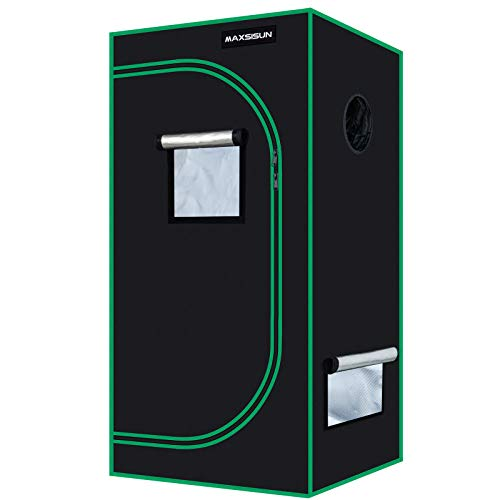 MAXSISUN 2x2 Grow Tent 600D Mylar Hydroponic Indoor Plants Growing Tent with Observation Window and Floor Tray 24x24x48 Grow Cabinet for 2 Plants