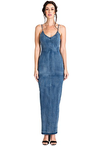 Denim Maxi Dress - Standards & Practices Women's V-Neck V-Back Indigo Tencel Denim Maxi Slip Dress Size M