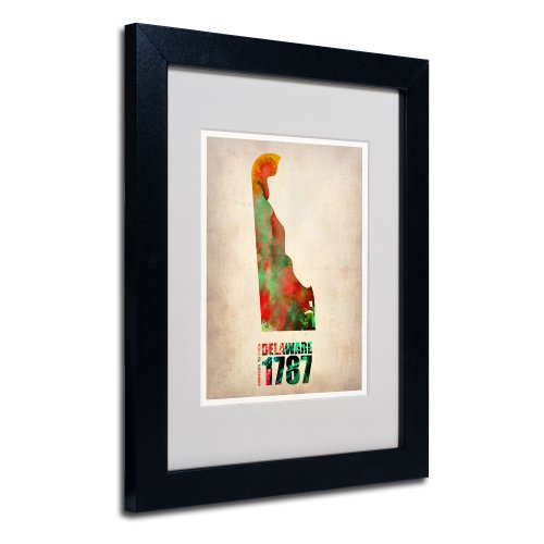 (Delaware Watercolor Map by Naxart Matted Framed Art, 11 by 14-Inch, Black Frame)