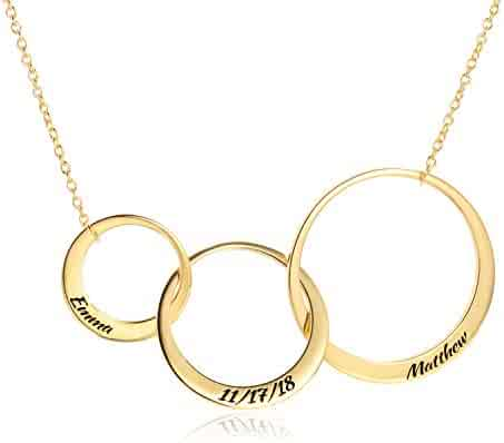 145794cb7 LONAGO Personalized Name Generation Friendship Necklace Copper Silver 2 or  3 Interlocking Infinity Circle Pendant for
