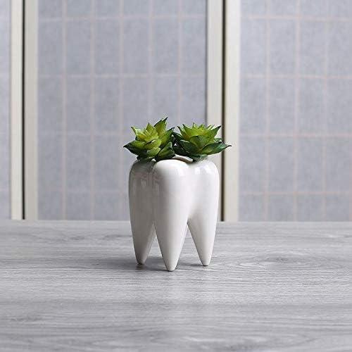 Senza Piante BKAUK Dente Forma Vaso di Fiori in Ceramica Bianca Design Moderno Dentiera Modello Vaso da Tavolo Regalo Creativo