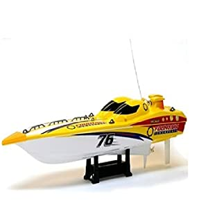 - 41lGmlmag0L - 23-Inch Radio Control Full Function Fountain Boat – 27 MHz Yellow/Red