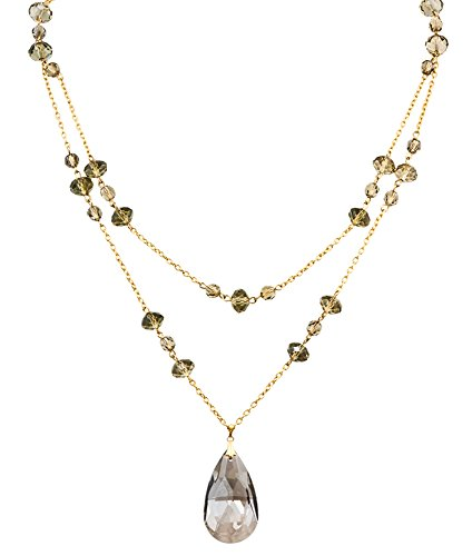 Gold Double Crystal 24k Plated - Alzi By Alzerina Alzerina Handmade Teardrop Crystal Satin Color Swarovski Element Crystal Pendant with 24K Gold Plated Double Layer Necklace