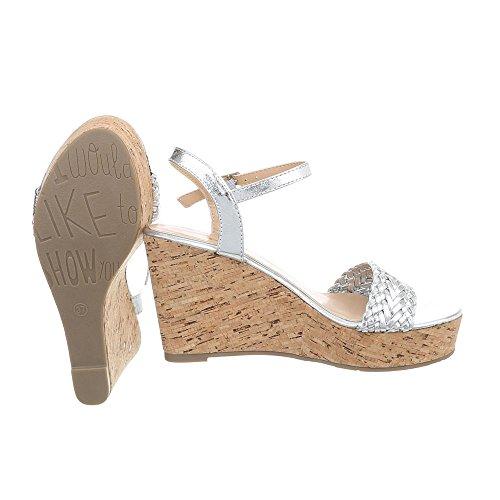 Ital-Design Zapatos Para Mujer Sandalias de Vestir Plataforma Sandalias de Cuña Plateado SL-48