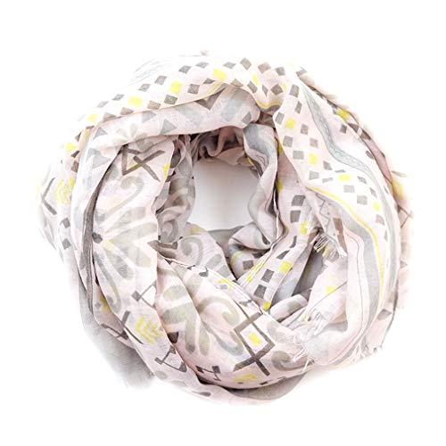 Scarves for Women Fashion Lightweight Fall Winter Geometric Pattern Wrap Shawls (Pink - Neck Jacket Warm Jewel Up