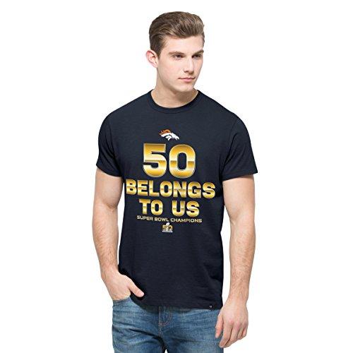 '47 NFL Denver Broncos Men's 2015 Super Bowl 50 Champions 50 Belongs to Us Crosstown Flanker Tee, Fall Navy, Large