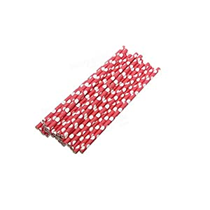 Red Polka Dot Paper Straws -25pcs Paper Drinking Straws Biodegradable Drinking Straw Wedding Party.
