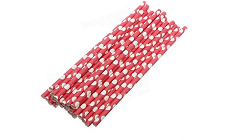 Red Polka Dot Paper Straws -25pcs Paper Drinking Straws Biodegradable Drinking Straw Wedding Party. (Tom And Jerry Centerpiece)