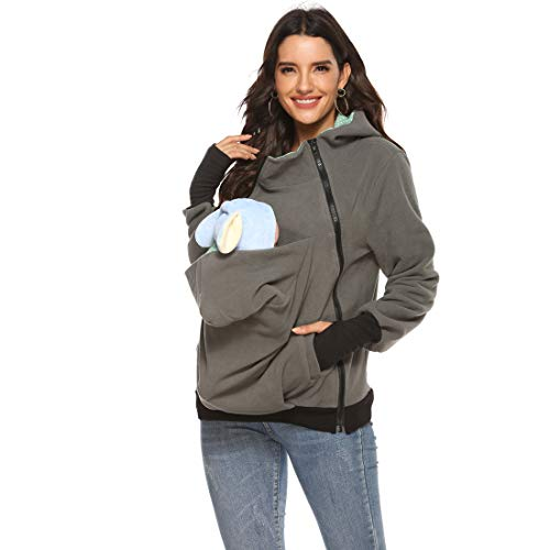 Womens Maternity Kangaroo Hoodies Fleece 3PCS Zipper Up Hooded Sweatshirt for Baby Carriers (Grey,XL)