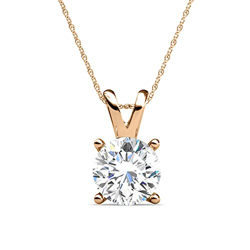 PARIKHS Round Diamond Solitaire Pendant Plus Quality in Rose Gold (0.04 (0.04 Ct Diamond Fashion)