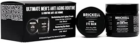 Brickell Men's Ultimate Anti-Aging Routine - Anti-Wrinkle Night Face Cream and Eye Cream to Reduce Puffiness, Wrinkles, Dark Circles, Under Eye Bags - Natural & Organic (Scented)
