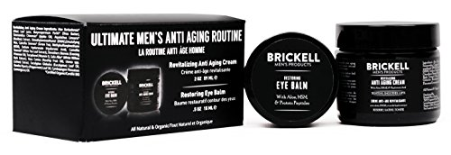 Brickell Men's Ultimate Anti-Aging Routine, Anti-Wrinkle Night Face Cream and Eye Cream to Reduce Puffiness, Wrinkles, Dark Circles, Under Eye Bags, Natural and Organic, Scented (Best Men's Face Cream For Anti Aging)