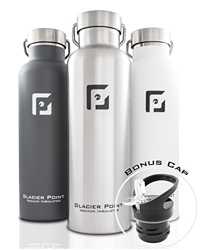 GlacierPoint Vacuum Insulated Stainless Steel Water Bottle (25oz Gray)