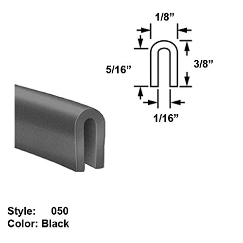 Silicone Foam High-Temperature U-Channel Push-On Trim, Style 050 - Ht. 3/8'' x Wd. 1/8'' - Black - 25 ft long by Gordon Glass Co.