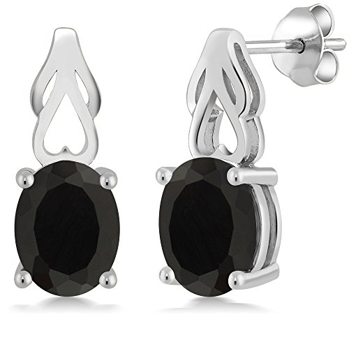 Gem Stone King Sterling Silver Black Onyx Earrings 4.00 cttw Gemstone Birthstone Oval 9X7MM ()