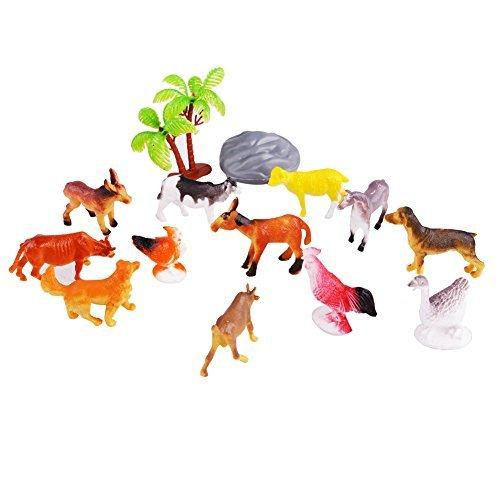 GlowSol Plastic Farm Animal Action Figure Assortment Kids Educational Toy Set of 12