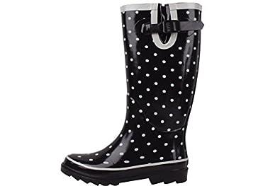 new New Sunville Brand Women's Rubber Rain Boots (11 B(M) US, Black/Grey Polka Dot)