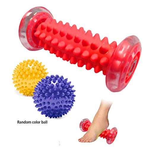 Foot Massage Roller Spiky Ball Relieve Plantar Fasciitis Heel Spurs Foot Arch Pain Deep Tissue Acupressure Reflexology Massager Relax Sore Muscle Knots(Red)