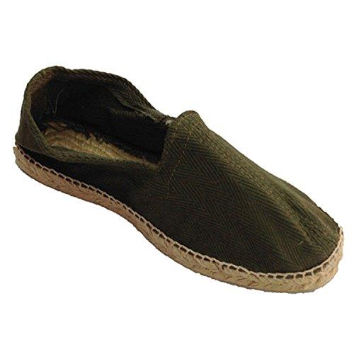 Chanvre sandales en tissu à chevrons et semelle en caoutchouc ci-dessous Made in Spain en kaki