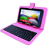 Linsay 7 QUADCORE 1024x600 HD 8GB Android 4.4 Tablet with Pink Keyboard