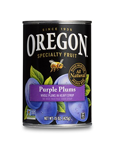 Oregon Fruit Whole Purple Plums in Heavy Syrup, 15-Ounce Cans (Pack of 8)