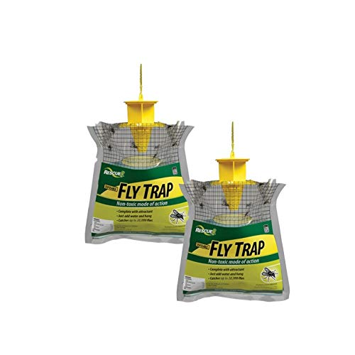 RESCUE Outdoor Disposable Fly Trap, 2 Pack (Best Way To Catch And Kill Fruit Flies)