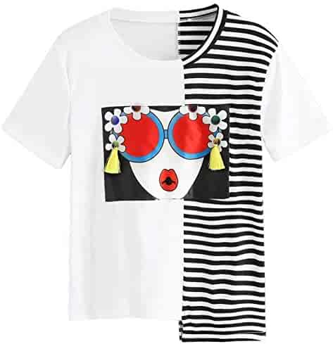 6d8757adf6 SheIn Women's Summer Short Sleeve Color Block T Shirts Graphic Printed Tee  Tops