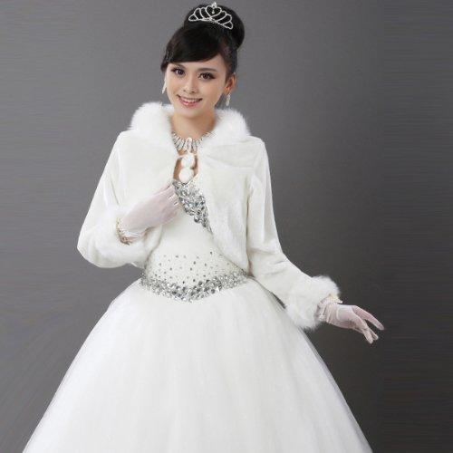 CIMC LLC Faux Fur Bridal Wedding Wrap Bolero Shawl with long sleeve-Ivory
